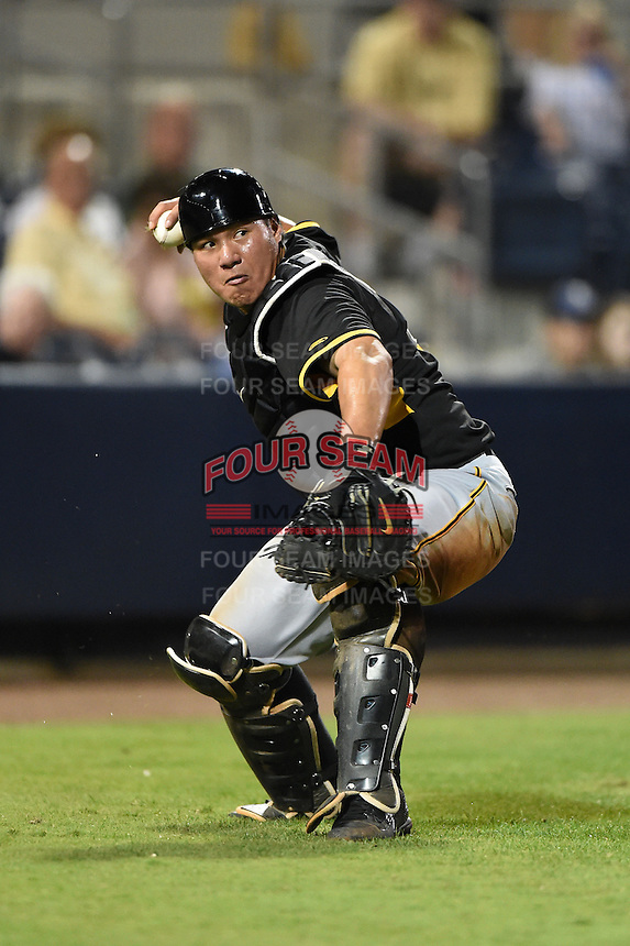Bradenton Marauders catcher Jin-De Jhang (47) throws to first during a game against the Charlotte Stone Crabs on April 4, 2014 at Charlotte Sports Park in Port Charlotte, Florida.  Bradenton defeated Charlotte 9-1.  (Mike Janes/Four Seam Images)