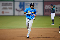 Jonathan Sierra (56) of the Myrtle Beach Pelicans rounds the bases after hitting a home run against the Lynchburg Hillcats at Bank of the James Stadium on May 22, 2021 in Lynchburg, Virginia. (Brian Westerholt/Four Seam Images)