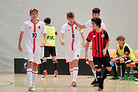 Isaac Bates of Hamilton Boys' High School  celebrates with team mates Futsal NZ Secondary Schools Junior Boys Final between Hamilton Boys High School and Selwyn College at ASB Sports Centre, Wellington on 26 March 2021.<br /> Copyright photo: Masanori Udagawa /  www.photosport.nz
