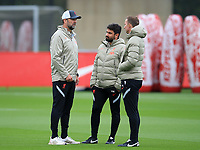 14th September 2021: The  AXA Academy, Kirkby, Knowsley, Merseyside, England: Liverpool FC training ahead of Champions League game versus AC Milan on 15th September: Liverpool manager Jurgen Klopp speaks with his assistant Pepijn Lijnders