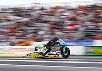Jun 6, 2015; Englishtown, NJ, USA; NHRA pro stock motorcycle rider Jerry Savoie during qualifying for the Summernationals at Old Bridge Township Raceway Park. Mandatory Credit: Mark J. Rebilas-