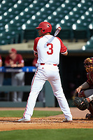 Joe Dunand (3) of the North Carolina State Wolfpack at bat against the Boston College Eagles in Game Two of the 2017 ACC Baseball Championship at Louisville Slugger Field on May 23, 2017 in Louisville, Kentucky. The Wolfpack defeated the Eagles 6-1. (Brian Westerholt/Four Seam Images)