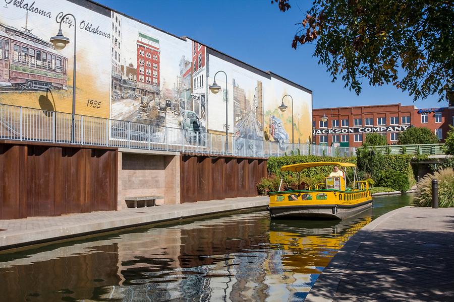 Oklahoma City, Oklahoma, USA.  Bricktown Canal and Water Taxi.