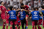 Boualem Khoukhi of Qatar (C) celebrating his score with his teammates during the AFC Asian Cup UAE 2019 Semi Finals match between Qatar (QAT) and United Arab Emirates (UAE) at Mohammed Bin Zaied Stadium  on 29 January 2019 in Abu Dhabi, United Arab Emirates. Photo by Marcio Rodrigo Machado / Power Sport Images