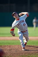 Auburn Doubledays relief pitcher Hayden Howard (45) during the second game of a doubleheader against the Batavia Muckdogs on September 4, 2016 at Dwyer Stadium in Batavia, New York.  Batavia defeated Auburn 6-5. (Mike Janes/Four Seam Images)