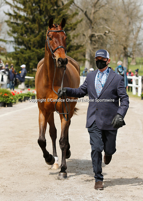 April 21, 2021: 77 Fernhill Singapore and rider Phillip Dutton from the USA in the first horse veterinary inspection at the Land Rover Three Day Event at the Kentucky Horse Park in Lexington, KY on April 21, 2021.  Candice Chavez/ESW/CSM