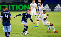 CARSON, CA - OCTOBER 18: Jake Nerwinski #28 of the Vancouver Whitecaps looks for an open man during a game between Vancouver Whitecaps and Los Angeles Galaxy at Dignity Heath Sports Park on October 18, 2020 in Carson, California.