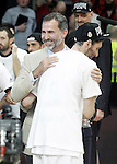 Real Madrid's Rudy Fernandez celebrates with the King Felipe VI of Spain the victory in the Euroleague Final Match. May 15,2015. (ALTERPHOTOS/Acero)