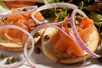 Montreal QC CANADA - 2008 file Photo - Bagel with cream cheese and smoked salmon
