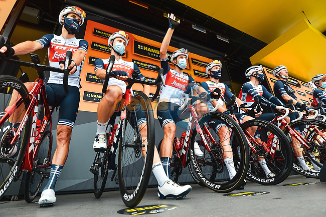 Trek-Segafredo best team after yesterday's stage at sign on before the start of Stage 8 of the 2021 Tour de France, running 150.8km from Oyonnax to Le Grand-Bornand, France. 3rd July 2021.  <br /> Picture: A.S.O./Charly Lopez | Cyclefile<br /> <br /> All photos usage must carry mandatory copyright credit (© Cyclefile | A.S.O./Charly Lopez)