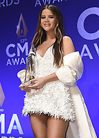 NASHVILLE, TN - NOVEMBER 13:  Maren Morris in the press room at the 53rd Annual CMA Awards at the Bridgestone Arena on November 13, 2019 in Nashville, Tennessee. (Photo by Scott Kirkland/PictureGroup)