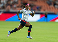 HOUSTON, TX - JUNE 13: Crystal Dunn #19 of the USWNT warms up before a game between Jamaica and USWNT at BBVA Stadium on June 13, 2021 in Houston, Texas.