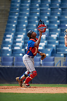Cole Jackson (27) of Sandy Creek High School in Montgomery, Alabama playing for the New York Mets scout team during the East Coast Pro Showcase on July 28, 2015 at George M. Steinbrenner Field in Tampa, Florida.  (Mike Janes/Four Seam Images)
