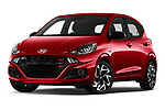Stock pictures of low aggressive front three quarter view of 2020 Hyundai i10 Sky-Line 5 Door Hatchback Low Aggressive
