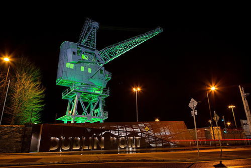 Dublin Port's iconic Crane 292 is illuminated in green