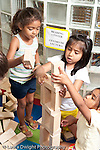 Education Preschool 3-5 year olds block area group of girls building with wooden blocks vertical