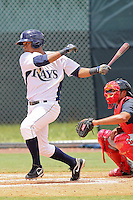 Joel Caminero (24) Outfielder for the GCL Rays during a game against the GCL Twins on July 16th, 2010 at Charlotte Sports Park in Port Charlotte Florida. The GCL Rays are the the Gulf Coast Rookie League affiliate of the Tampa Bay Rays. Photo by: Mark LoMoglio/Four Seam Images