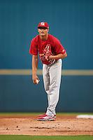 Palm Beach Cardinals starting pitcher Junior Fernandez (32) during a game against the Bradenton Marauders on August 9, 2016 at McKechnie Field in Bradenton, Florida.  Bradenton defeated Palm Beach 8-7.  (Mike Janes/Four Seam Images)