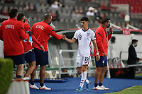 GUADALAJARA, MEXICO - MARCH 24: Sebastian Soto #19 of the United States is subbed out during a game between Mexico and USMNT U-23 at Estadio Jalisco on March 24, 2021 in Guadalajara, Mexico.