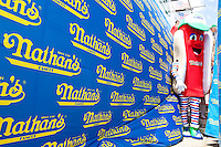Before the start of the IFOCE sanctioned Nathan's Hot Dog Eating Contest in Coney Island, Brooklyn on July 4, 2009.