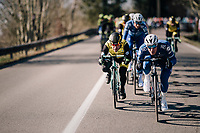 Tim Declercq (BEL/Quick-Step Floors) & Bram Tankink (NED/LottoNL-Jumbo) tucked in at the front of the peloton<br /> <br /> 70th Kuurne-Brussel-Kuurne 2018<br /> Kuurne › Kuurne: 200km (BELGIUM)
