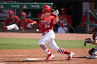 St. Louis Cardinals John Nogowski (34) bats during a Major League Spring Training game against the Houston Astros on March 20, 2021 at Roger Dean Stadium in Jupiter, Florida.  (Mike Janes/Four Seam Images)