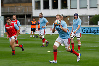 Mark Bright of London Scottish warms up during the Championship Cup match between London Scottish Football Club and Nottingham Rugby at Richmond Athletic Ground, Richmond, United Kingdom on 28 September 2019. Photo by Carlton Myrie / PRiME Media Images