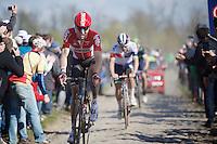 Marcel Sieberg (DEU/Lotto-Soudal) at the Carrefour de l'Arbre (2.1 km)<br /> <br /> 114th Paris-Roubaix 2016
