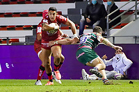 26th September 2020; Toulon, France; European Challenge Cup Rugby, semi-final; RC Toulon versus Leicester Tigers;  Bryce Heem (RC Toulon) arms off the tackle from Jaco Taute