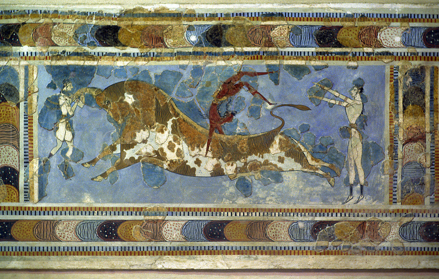 A fresco from the Palace of Knossos, Crete, with a representation of bull-leaping, a kind of contest, possibly religious in character, in which both men and women took part. A man is shown jumping over the back of a bull with a female figure on each side.