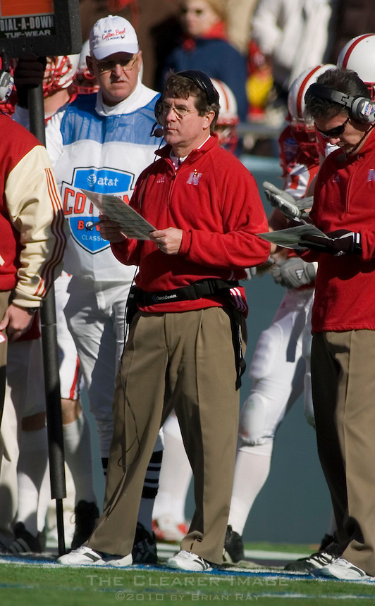 01 January 2007: Nebraska head coach Bill Callahan watches his team from the sidelines during the 2007 AT&T Cotton Bowl Classic between The University of Auburn and The University of Nebraska at The Cotton Bowl in Dallas, TX.