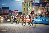 John Degenkolb (DEU/Giant-Alpecin), Giacomo Nizzolo (ITA/Trek-Segafredo), Thomas De Gendt (BEL/Lotto-Soudal) & Sep Vanmarcke (BEL/LottoNL-Jumbo) rolling over the cobbles in Mechelen<br /> <br /> Post-Tour criterium Mechelen (Belgium) 2016
