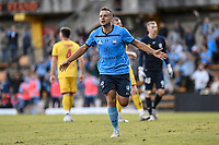 18th April 2021; Leichardt Oval, Sydney, New South Wales, Australia; A League Football, Sydney Football Club versus Adelaide United; Bobo of Sydney celebrates after scoring to make it 2-0 in the 51st minute