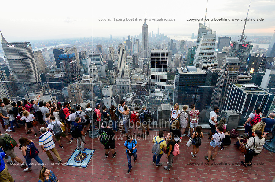 USA, New York City, Manhattan Skyline , view from observing deck of Rockefeller Center, top of the rock