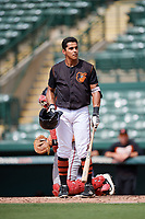 GCL Orioles right fielder Juan Montes (9) at bat during the first game of a doubleheader against the GCL Twins on August 1, 2018 at CenturyLink Sports Complex Fields in Fort Myers, Florida.  GCL Twins defeated GCL Orioles 7-6 in the completion of a suspended game originally started on July 31st, 2018.  (Mike Janes/Four Seam Images)