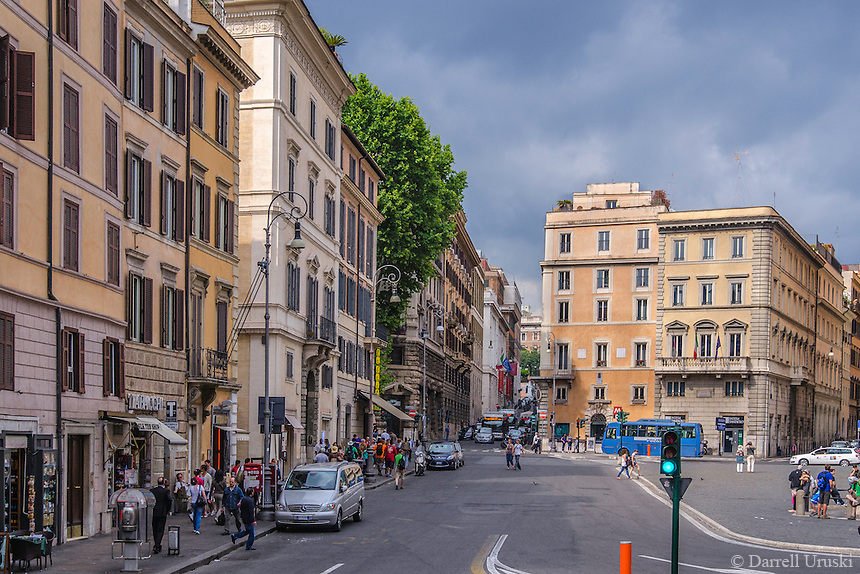 Travel Print Photograph of a busy street scene in Rome Italy.