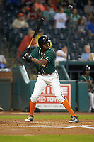 Thomas Jones (12) of the Greensboro Grasshoppers at bat against the West Virginia Power at First National Bank Field on June 1, 2018 in Greensboro, North Carolina. The Grasshoppers defeated the Power 10-3. (Brian Westerholt/Four Seam Images)