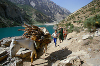 The last of the Marguzor Lakes or Seven Beauties, in the South of Pendzhikent..The Seven Lakes is a series of long and narrow natural dams formed by land slides blocking the Shing River over the last few thousand years. They occur south of the village of Shing in the Fann Mountains, accessible by road from Penjikent in central western Tajikistan. The Seven Lakes are a climb of 800 metres over a distance of 14 kilometres to an elevation of 2,400 metres above sea level.