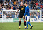 St Johnstone v Rangers…11.09.21  McDiarmid Park    SPFL<br />A gutted Reece Devine pictured with John Lundstram at full time<br />Picture by Graeme Hart.<br />Copyright Perthshire Picture Agency<br />Tel: 01738 623350  Mobile: 07990 594431