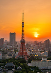 Sunset from the observation deck of the World Trade Center Building located in Hamamatsuchō, Minato, Tokyo.