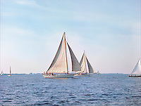 """Chesapeake Bay workboat Rosie Parks was the Queen of the fleet, attributable to her beauty and speed. Photograph from the restored, Limited Edition Skipjack print in the Fine Art """"Skipjack Sunday"""" collection."""