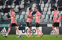 Calcio, Serie A: Juventus - Hellas Verona, Turin, Allianz Stadium, October 25, 2020.<br /> Juventus' Dejan Kulusevsky (second right) celebrates after scoring with his teammate Danilo (second left) during the Italian Serie A football match between Juventus and Hellas Verona at the Allianz stadium in Turin, October 25,,2020.<br /> UPDATE IMAGES PRESS/Isabella Bonotto