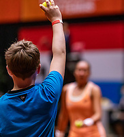 Den Bosch, The Netherlands, April 17, 2021,    Maaspoort, Billie Jean King Cup  Netherlands -  China , Ballboy throwing a ball<br /> Photo: Tennisimages/Henk Koster
