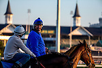 APRIL 28, 2015: Steve Asmussen on his horse during morning workouts at Churchill Downs in Louisville, Kentucky. Jon Durr/ESW/Cal Sport Media