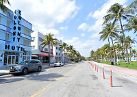 MIAMI BEACH, FL - APRIL 10: COVID-19: Miami Beach has an Eerie calm and quiet to it as tourist attractions and hot spots like Ocean Drive, Lincoln Road, The Design District and the Wynwood Art District all are empty as business's and Florida economy come to a total halt after Florida Gov. Ron DeSantis orders all entertainment venues, restaurants, and beaches to close in Dade, Broward and Palm Beach Counties in the name of public safety an in an effort to slow the spread of the Coronavirus on April 10, 2020 in Miami Beach, Florida<br /> <br /> People:  Colony Hotel