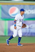 Burlington Royals shortstop Jose Martinez (6) on defense against the Greeneville Astros at Burlington Athletic Park on June 30, 2014 in Burlington, North Carolina.  The Royals defeated the Astros 9-8. (Brian Westerholt/Four Seam Images)