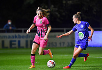 Estelle Dessilly (13 Charleroi) pictured in a fight for the ball with Chloe Vande Velde (10 Gent) during a female soccer game between  AA Gent Ladies and Sporting Charleroi Feminin on the fifth matchday of the 2020 - 2021 season of Belgian Scooore Womens Super League , friday 16 th of October 2020  in Oostakker , Belgium . PHOTO SPORTPIX.BE | SPP | DAVID CATRY