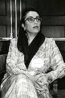 Benazir Bhutto Former Prime Minister of Pakistan at World Women Leaders Summit at Harvard University May 1, 1998