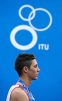 31 MAY 2015 - LONDON, GBR - Vincent Luis (FRA) from France listens to the British national anthem after taking third place at the 2015 ITU World Triathlon Series round in Hyde Park, London, Great Britain (PHOTO COPYRIGHT © 2015 NIGEL FARROW, ALL RIGHTS RESERVED)