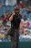 Umpire Brian Walsh calls a strike during a Texas League game between the Amarillo Sod Poodles and Frisco RoughRiders on May 16, 2019 at Dr Pepper Ballpark in Frisco, Texas.  (Mike Augustin/Four Seam Images)